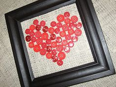 heart art with buttons on burlap