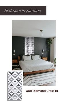 Dreamt of giving an art gallery like effect to your bedroom? This beautiful piece of black, grey and white geometric wall tile with a strong ceramic base is what we recommend. Upload your bedroom photo to trial0ok and see how this or other tiles will look in your space. #wall #tiles #geometric #bedroom #decor #home #tilestyle #inspiration