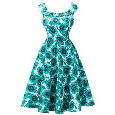 Retro High Waisted Sunflower Capelet Dress ($22) ❤ liked on Polyvore featuring dresses, high waist dress, retro print dress, capelet dress, retro-style dresses and sunflower dress