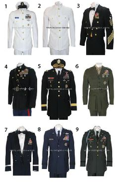 9 military uniforms.  Can you name the branches of all 9?