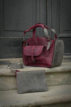 Leather Shoulder Bag with Clutch Set handmade bag par ladybuq