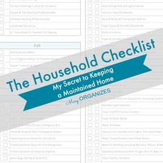 This Household Checklist is the Printable that is my biggest secret for keeping my home maintained year-round. Of course, having a handy Household Checklist Household Checklist, Household Binder, Cleaning Checklist, Household Tips, Diy Cleaning Products, Cleaning Solutions, Cleaning Hacks, Cleaning Schedules, Speed Cleaning