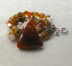 Red Agate Pendant Jade Beads Chip Beads  by CatsBeadKitsandMore