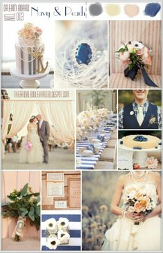 The Bridal Boulevard: navy & peach dream board