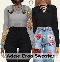 Adele Crop Sweater at Lumy Sims • Sims 4 Updates
