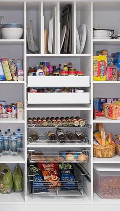 Closet Works reach in pantry shelving system features many custom pantry pull out accessories to increase storage capacity like baskets, a spice rack, wine rack and vertical tray organizer. Small Pantry Closet, Pantry Closet Organization, Pantry Shelving, Pantry Room, Hall Closet, Pantry Pull Out Drawers, Pull Out Shelves, Free Standing Pantry, Pantry Inspiration