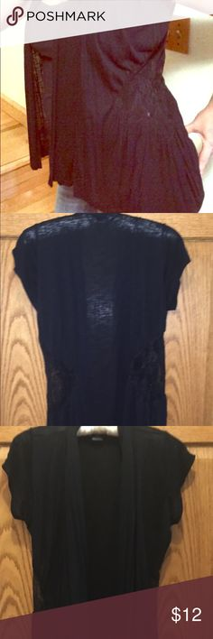 Nwot Vanity Sz M Short Sleeved Black Cami Lace This is a vanity size medium black cani with a triangular Lace accent on the sides. It hangs loose and open. Nwot Vanity Tops Camisoles
