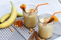 Apricot Chickpea Smoothie;  Ingredients 1   frozen banana (peel before freezing) 6   dried apricots (organic, unsulphured) 1/2 cup organic canned chickpeas, strained 1  cup  unsweetened almond milk (or milk of choice) 1/2 tsp cinnamon 1/8 tsp  ground cardamom