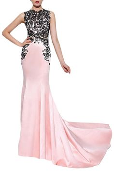Homdor Pink Lace Applique Mermaid Prom Dress Floor Length Evening Gown Sleeveless -- Check out the image by visiting the link. (This is an affiliate link) #PromandHomecomingDress