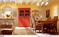love the wall paneling and the orange accent piece
