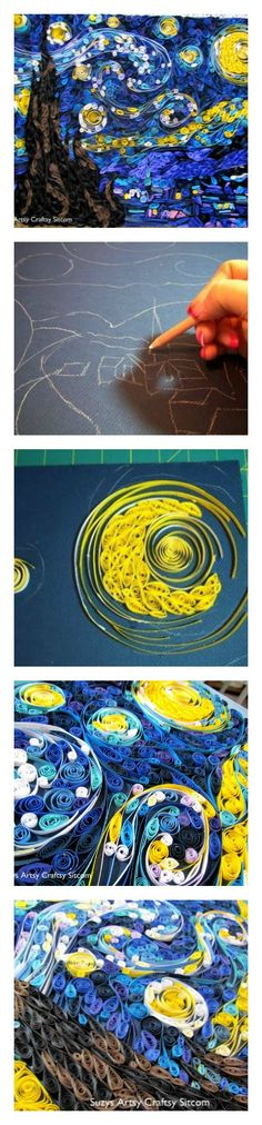 Paper quilled Starry Night made from over 10,000 strips of colored cardstock!