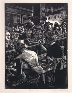 'Rush Hour (Myers Cafeteria),' (c.1935) by German-American illustrator & printmaker Fritz Eichenberg 91901-1990). Wood engraving. via Gacougnol