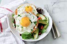 the kosher spoon : Fried Eggs with Feta over Toasted Sesame Bagel with Leben Dill Spread