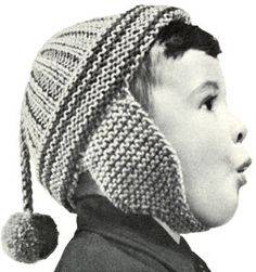 Boy's or Girl's Helmet knit pattern from Speedknits for Children, originally published by Patons & Baldwins, Book 71.