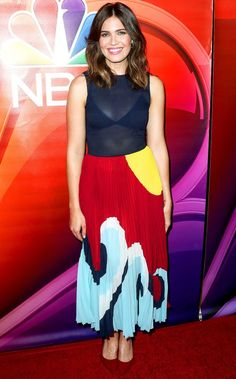 Mandy Moore in a colorblock dress