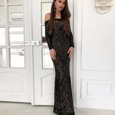 45a78cf49a3d Mermaid Off the Shoulder Long Sleeves Black Sequin Long Prom Dress with  Beading Večerné Šaty