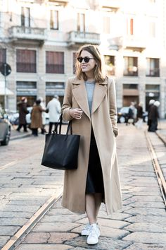 Caramel coat and Adidas Stan Smith sneakers