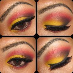 Yellow & Red Eye Shadow #eyeshadow #makeup