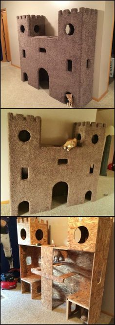 Plywood Cat Castle DIY Cat Project: How to build the ultimate cat castle! This is a great idea to keep indoor cats busy.DIY Cat Project: How to build the ultimate cat castle! This is a great idea to keep indoor cats busy. Cat Castle, Cat Towers, Ideal Toys, Cat Room, Cat Condo, Pet Furniture, Repurposed Furniture, Furniture Ideas, Children Furniture
