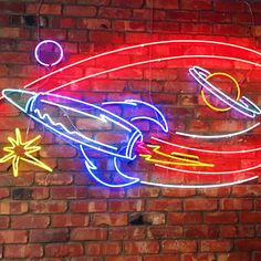 Rocket neon sign. Neon Art// Neon LOVE!!!