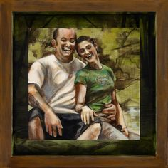 "(c) Alisha Lee Jeffers. ""Jeff and April"" Acrylic on birch panel.  8""x8"" with 12""x12"" frame"