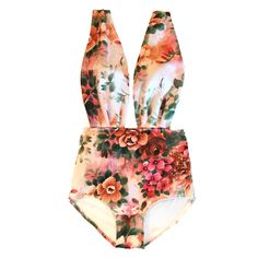 Vintage Style Classic Floral Print Neoprene Wrap Maillot! LIMITED EDITION!