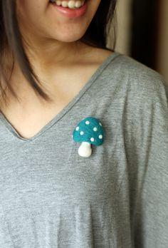 Needle Felt Brooch Blue Mushroom Brooch Handmade Accessories Kids Gift. $12.00, via Etsy.