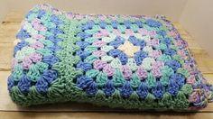 Small Lap Blanket Crocheted Afghan, 1980s-1990s vintage afghan by RandomGoodsVintage on Etsy