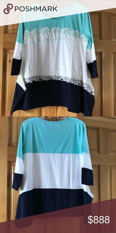 Mint, White, & Navy Asymmetrical Top NWOT Mint, White, & Navy Asymmetrical Top with Lace Detail. Measurements coming. Tops