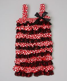 Take a look at this Red & Black Polka Dot Ruffle Romper - Infant & Toddler by CuteNspoiled on #zulily today!