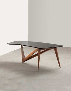 Louis Sognot; Lacquered Wood and Oak Coffee Table, c1954. Wood and oak?