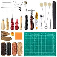 Leather Stitching Kit with Instructions Leather Sewing Needles 34 Pcs Leather Working Kit Leather Crafting Tools and Supplies Leather Starter Kit with Leather Burning Tool Waxed Thread Cord