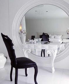 Black and white dressing room.