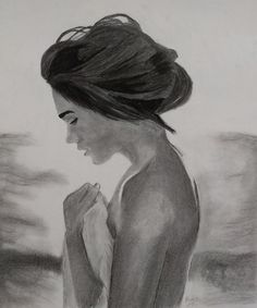 Beautiful Girl By The Ocean Charcoal Drawing