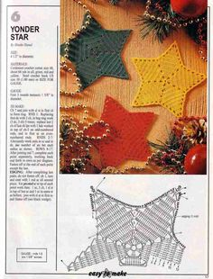 """Yonder Star BY Hiroko Hanai: Print the pattern directly from the link. Size: 4 1/2"""" in diameter. Would look lovely hanging on the Christmas tree, a Mantel or even as Coasters. :-)"""