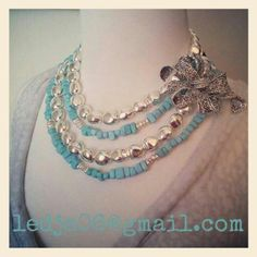 Dakota and Silver Chic Necklaces (both doubled) and pinned with Curly Q!