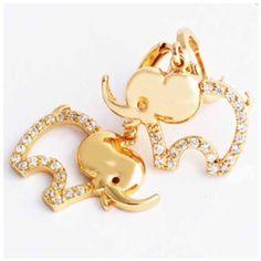 Gold Plated Elephant Danhle Earrings Beautiful 18K gold plated lined w/ cubic zirconia elepgant dangle earrings Jewelry Earrings
