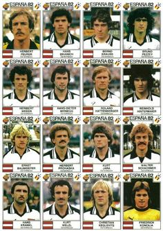 Austria team stickers for the 1982 World Cup Finals.