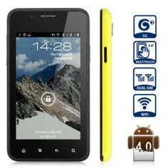 This phone will only work with GSM+WCDMA network  GSM 850/900/1800/1900 WCDMA 2100MHz.  Unlocked for Worldwide use, please check if your local area network is compatible with this phone    Main Features  Type: Smart Phone  Color: Yellow  OS: Android 4.0  CPU: Rheastone 1GHz  ROM: 1GB  RAM: 512MB  ...  Click on Picture to go to Store