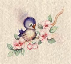 Vintage Greeting Cards With Bluebirds - -