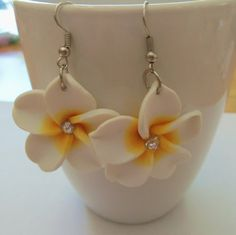 Pretty white and yellow flower earrings by auntiejsgifts on Etsy, $2.00