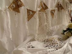 Antique Boho SHABBY Rustic Chic Burlap Lace SHOWER Curtain Fringe Gypsy Hearts