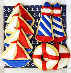 nautical cookies, lighthouse cookies, sailboat cookies and life preserver cookies.  Featured on Amy Atlas through Birds Party!