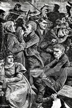 Stock Illustration : Men Fighting - Victorian Engraving