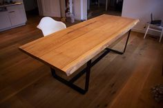 OAK DINING TABLE: Bold Oak Table set on Steel Frame Legs on Etsy, $3,569.43