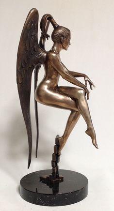 43 #sculpture by #sculptor Vitaliy Semenchenko titled: 'Virgo (Small Bronze nude Angel sculpture statue)'. #VitaliySemenchenko