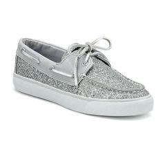 Sperry Women's Casual Boat: Women's Bahama Boat Shoe Silver Glitter / Grey Canvas