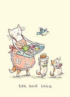 Anita Jeram Two Bad Mice Greeting Cards: Tea and Cake I Love Cats, Crazy Cats, Anita Jeram, Image Chat, Tea Art, Here Kitty Kitty, Cat Drawing, Children's Book Illustration, Illustrators