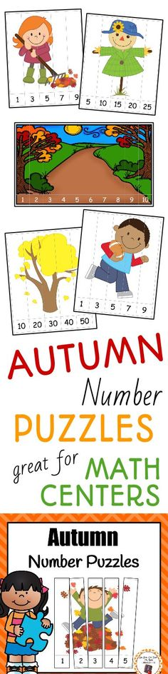 Need a math center during your autumn/fall unit? Try these number puzzles and have your kindergarten or first grade students work on rote and skip counting! Preschool Puzzles, Fall Preschool, Preschool Learning, Teaching Math, Kindergarten Homeschool Curriculum, Kindergarten Lesson Plans, Homeschooling, Autumn Theme, Autumn Fall
