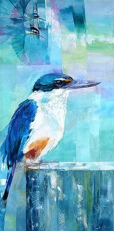 sheila brown nz bird artist, colourful kingfisher acrylic painting